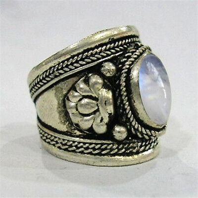 Large Adjustable Tibetan Big Oval Rainbow Moonstone Gemstone Dorje Amulet Ring
