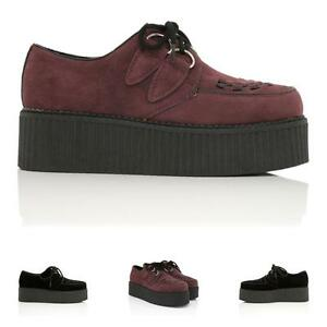 donna Creeper Shoes Lace da Sneaker piatte Nero sintetico Up Scarpe Suede Platform 5ptAwqnnS