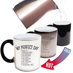 Funny-Mugs-My-Perfect-Day-Motorbike-Gift-Christmas-COLOUR-CHANGING-NOVELTY-MUG