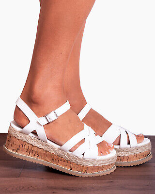 White Cork Wedged Platforms Wedges Ankle Strap Strappy Sandals Shoes Size 3-8 Hitze Und Durst Lindern.