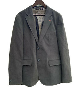 Ted-Baker-Womens-Gray-Green-Blazer-Size-5-Floral-Lining-Coat-Jacket-100-Cotton
