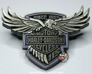 HARLEY-DAVIDSON-115TH-ANNIVERSARY-PIN-SOARING-EAGLE-WITH-BAR-amp-SHIELD-FREE-POUCH