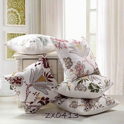 """Vintage Multi-Coloured Flower Embroidered Linen CUSHION COVER PILLOW CASE 18"""""""