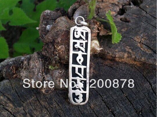 Pair Vintage Tibetan White Copper Carved OM MANI PADME HUM Amulet Pendants