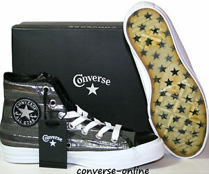 Uomini donne Converse All Star nero e argento con Borchie Sneakers Stivali Taglia UK 5