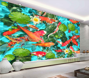 3D Pond lotus fish 012 Floor WallPaper Murals Wall Print Decal 5D AJ WALLPAPER