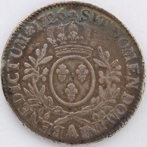 LOUIS-XV-ECU-AU-BRANCHES-D-039-OLIVIER-1726-A