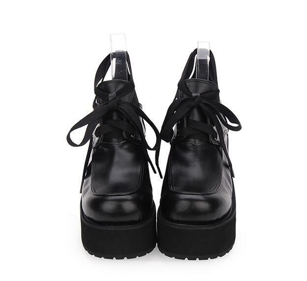 Punk Block Gothic Chunky Block Punk High Heels Platform Shoes Japanese Style Lolita Shoes aff1bc