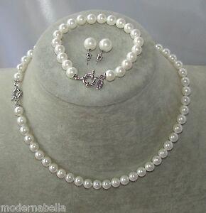 Perle-bianche-naturale-Collana-bracciale-braccialetto-orecchini-girocollo