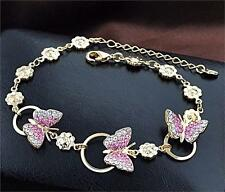 18k Gold Plated DIamante Crystals  Rhinnestone Butterfly Charm Bangle Bracelet