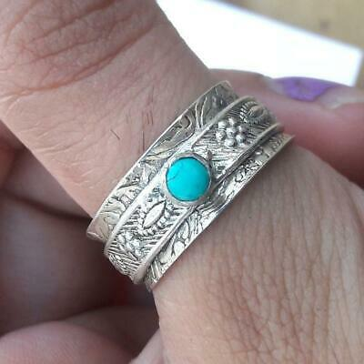 Turquoise Solid 925 Sterling Silver Ring Spinner Meditation Statement Ring 7