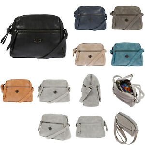 Kleine-Damen-Schultertasche-Umhaengetasche-Handtasche-Leder-Optik-Tasche-Schwarz