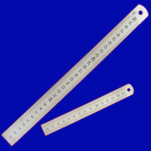 "12"" 30CM 300MM & 6"" 15CM 150MM STAINLESS STEEL RULER METAL RULE METRIC IMPERIAL"