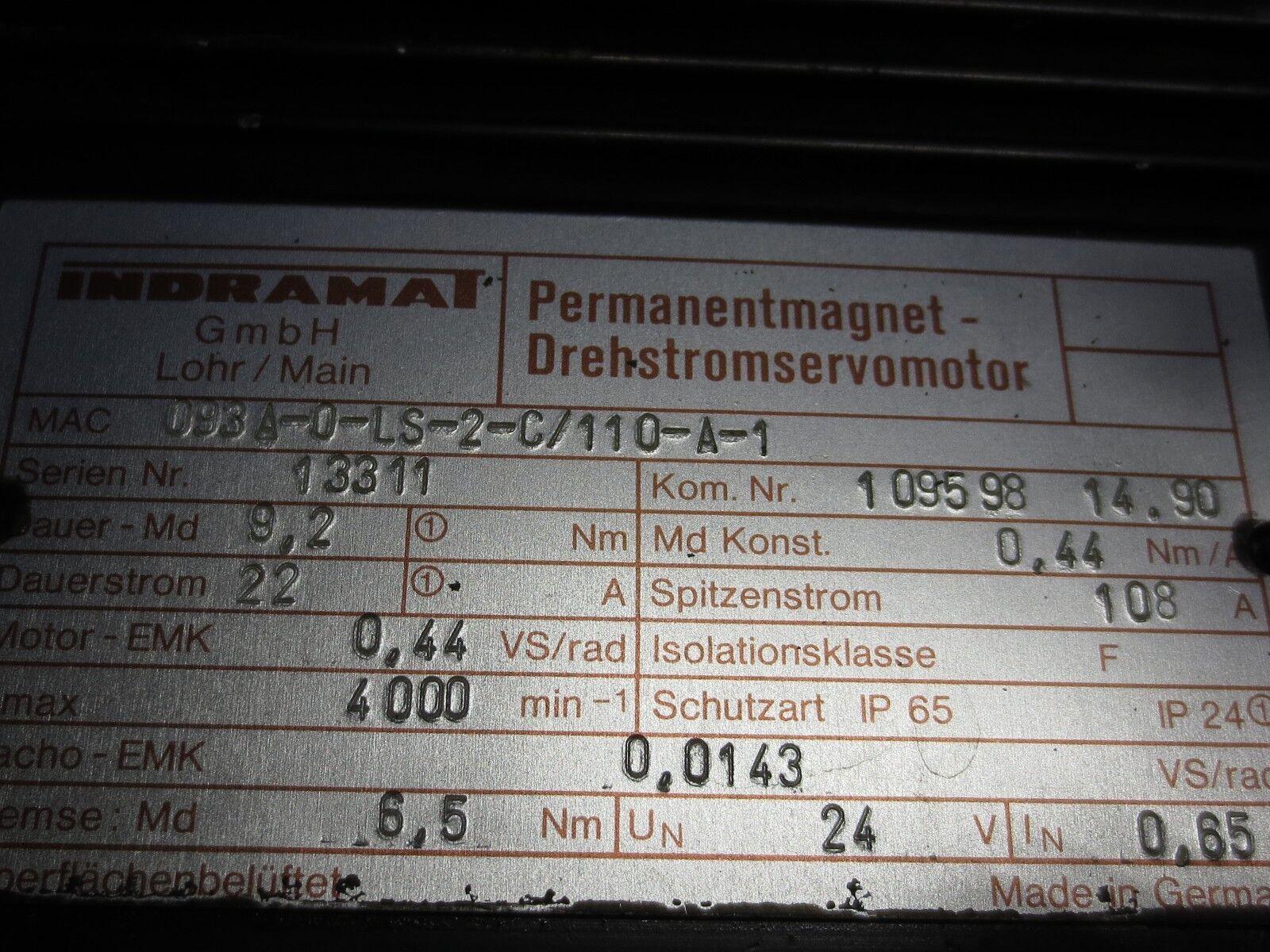 INDRAMAT mac025b-0-zs-2-e//040-b-1//s001 permanent magnétique moteur