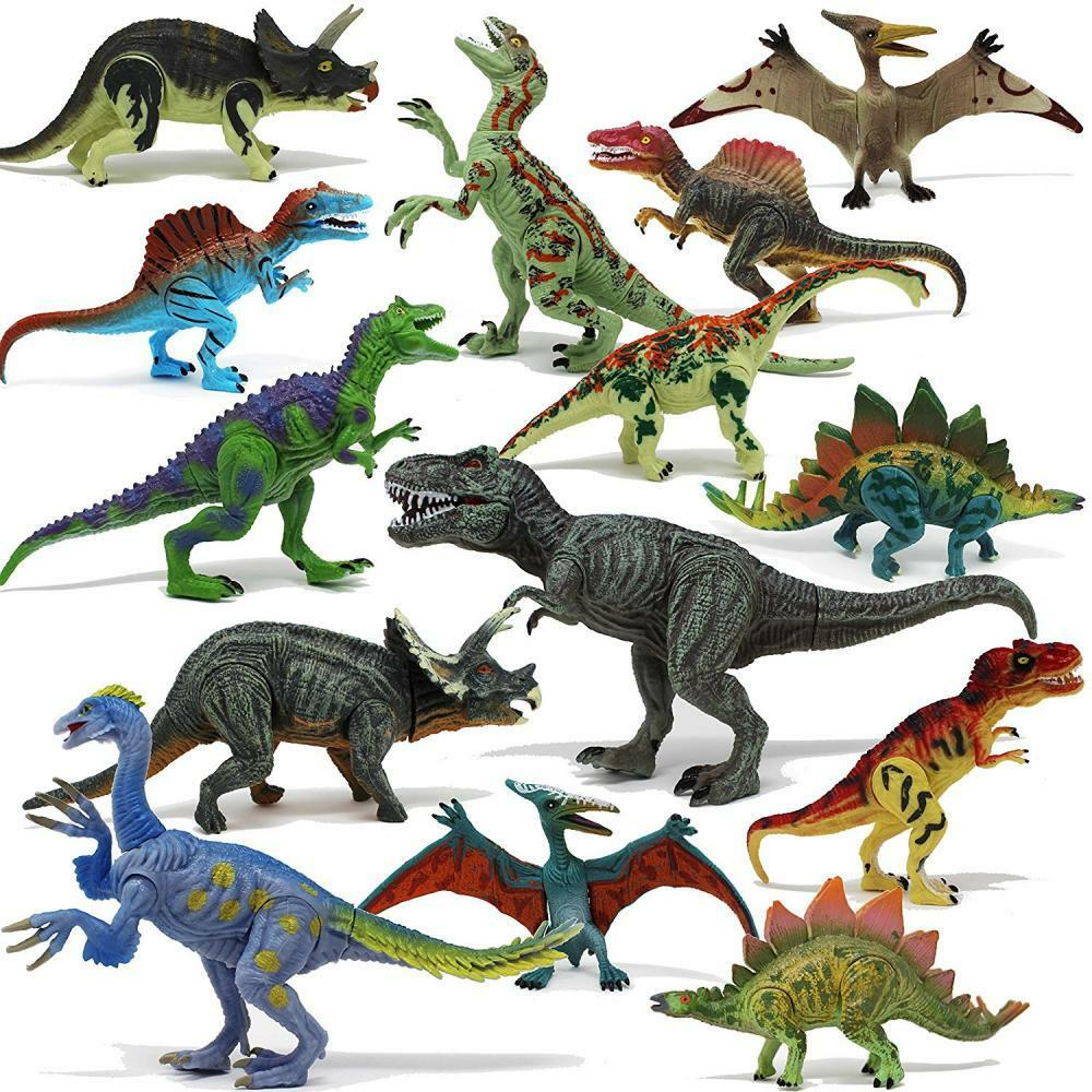 Dinosaur Toy Figures Animals Kids Toddler Party Favor 18 Pc Gift Boy Girl NEW