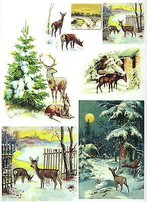 A/4 Soft Decoupage Paper Scrapbook Sheet Vintage Deer Fawns