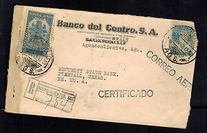 1942 aguascalientes Mexico to Pearsall TX USA cover Sunburst Central bank Censor