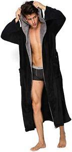 Hooded Herringbone Men's Black Soft Spa Full Length Warm Bathrobe With Grey Kimo