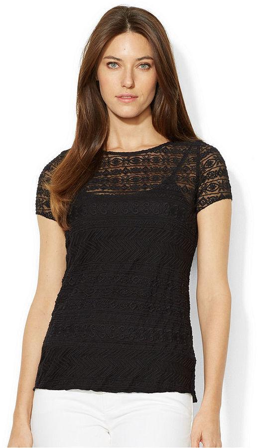 schwarz Lace Short Sleeve Blouse by Lauren Ralph Lauren MEDIUM