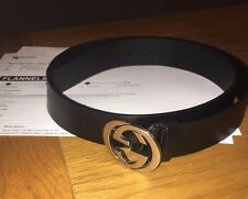Gucci Leather Black Interlocking G Logo Belt Silver Size 95cm
