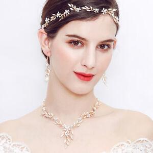 Gold Crystal Floral Vine Headband Tiara Wedding Bride Prom Hair