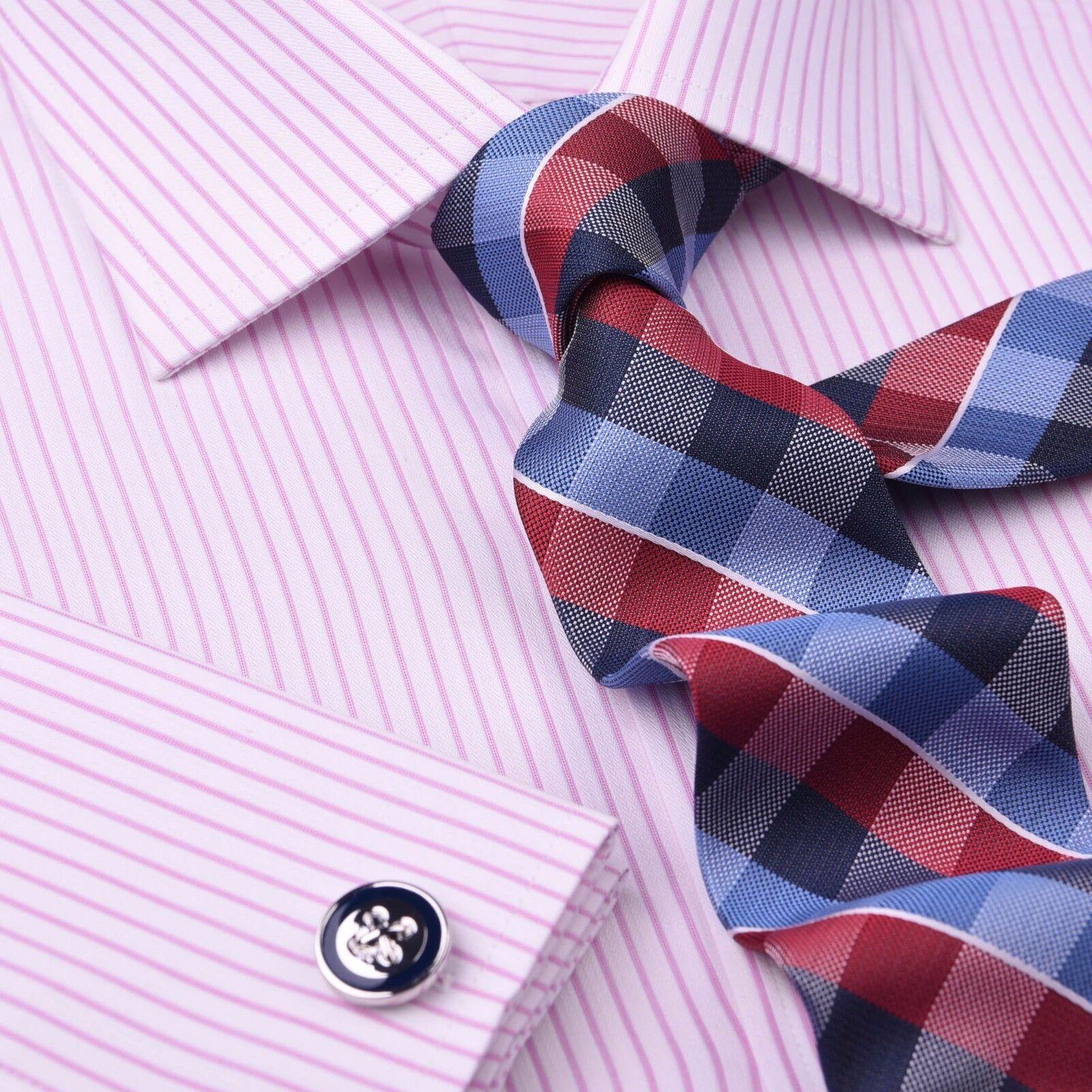 Light Pink Striped Formal Business Dress Shirt Classic Thin Designer Fashion Top