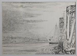 Henri-Leray-1905-1987-Zeichnung-Marine-Bretagne-Ansicht-Nantes-Loire-Mit