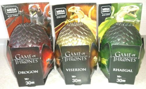 3 Game of Thrones Dragon Lot Drogo Viserion Rhaegal A Figure BS Mega CONSTRUX