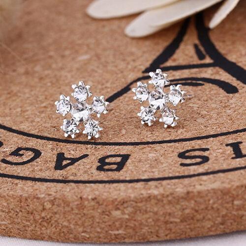 Oído espárragos pendiente flor de copo de nieve cristal plata #SMO1