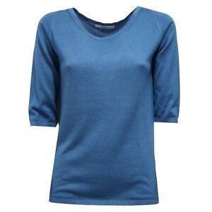 100% De Qualité 7357v Maglione Donna Kangra Light Blue Cashmere/silk Sweater Woman Clair Et Distinctif