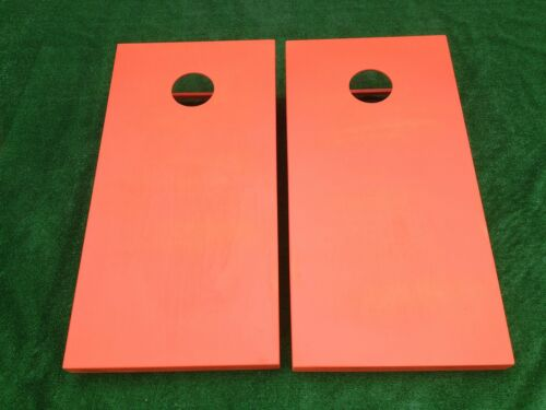 ORANGE Painted CORNHOLE BOARDS SET Bean Bag Toss 8 ACA Regulation Bags