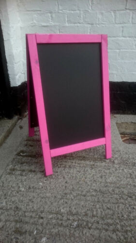 70 x 40cm Blackboard Pavement Sign Premium Pink Wooden A Board Sandwich