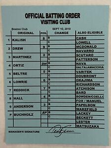 Game Used MLB Boston Redsox Signed Line Up Card Official Batting Order ORTIZ Mlb