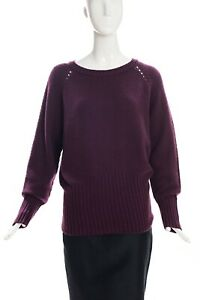 AGNONA-Eggplant-Purple-Open-Stitch-Rib-Knit-Long-Sleeve-Cashmere-Sweater-IT-46