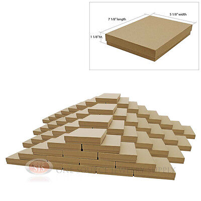 """Large 100 Brown Kraft Cotton Filled Jewelry Gift Boxes 7 1/8"""" x 5 1/8"""" x 1 1/8""""H"""