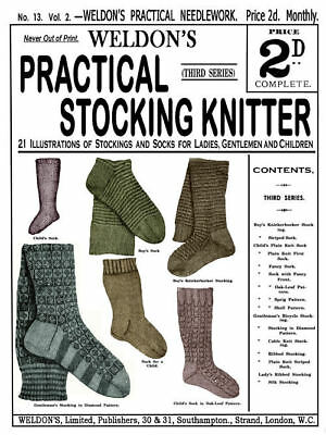 Weldon/'s 2D #173 c.1899 Victorian era Stocking Knitting Patterns