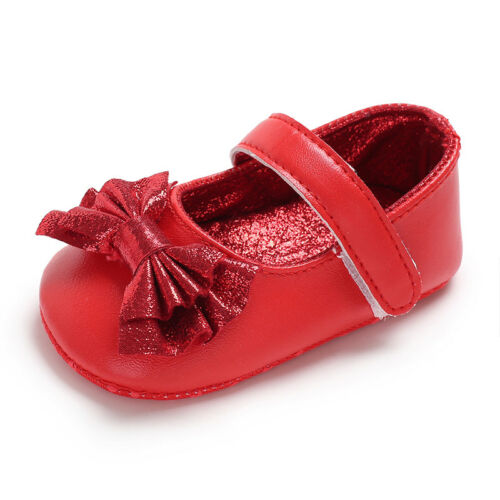 Princess Baby Girl Soft Sole Crib Shoes Infant Mary Janes Dress Shoes Size 0-18M
