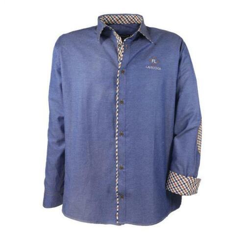 Herren Langarm Hemd 9003 in Übergöße Farbe Indigo Blau mit Karoborde