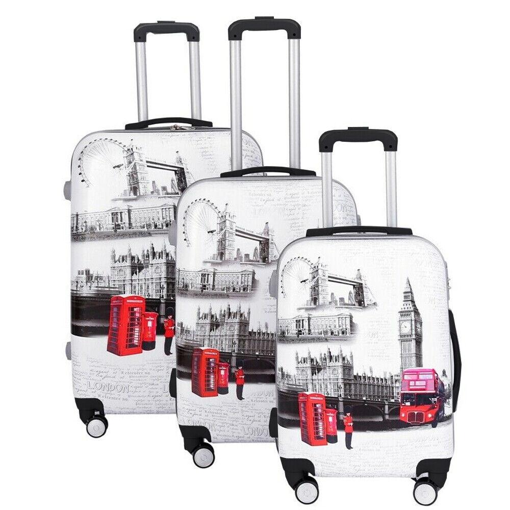 Lot de 3 trolley valises bagages à main roues coque dure Léger Voyage Nouveau