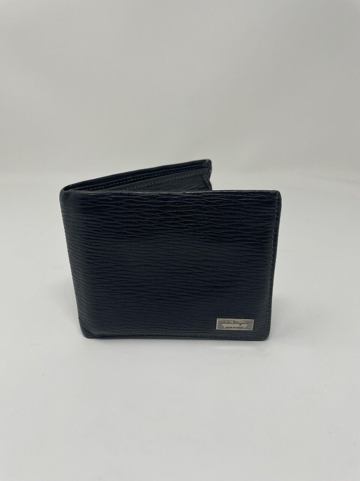 SALVATORE FERRAGAMO Men's Black Leather Wallet - Used