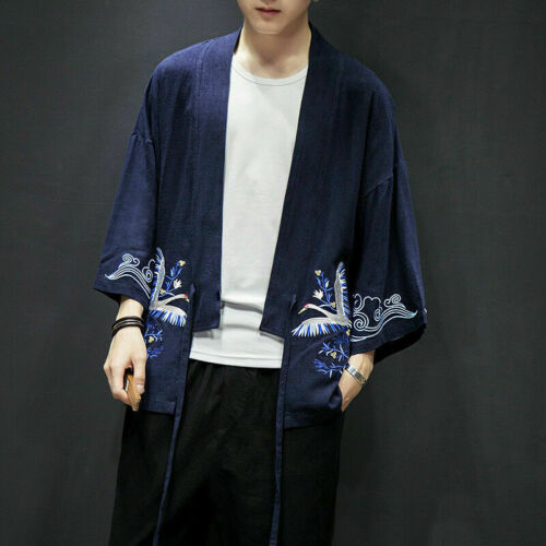 Men Embroidery Japanese Kimono Jacket Loose Coat Cardigan Outerwear Top Haori