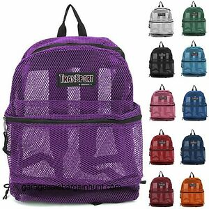 Image Is Loading Transparent See Through Mesh Backpack Book Bag Kids