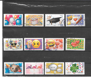 FRANCE-2018-EMOJI-SERIE-COMPLETE-DE-12-TIMBRES-AUTOADHESIFS-CACHETS-RONDS