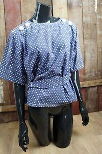 vintage-bluse-Polka-Dots-schulterknopfe-Cinturon-Esponjoso-gr-38-40