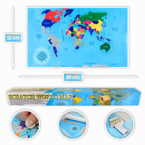 XXL-Rubbel-Weltkarte-Scratch-Off-World-Map-Land-karte-zum-Frei-Rubbeln-88x52cm