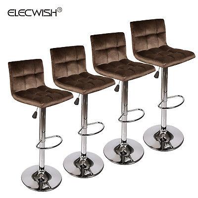 Wondrous Set Of 4 Velvet Adjustable Bar Stool Chair Dining Kitchen Hydraulic Counter Seat 710535515213 Ebay Machost Co Dining Chair Design Ideas Machostcouk