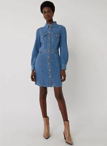 Details about Brand New x Warehouse Western Mini Denim Long Sleeve Dress