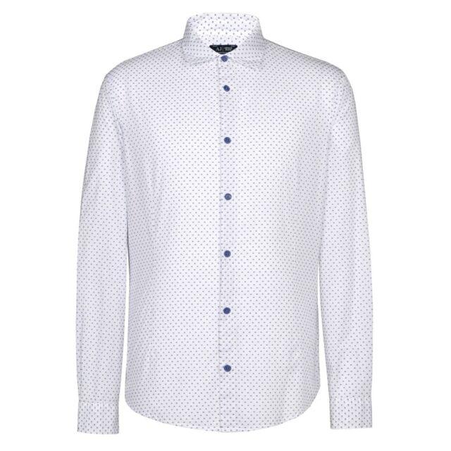 ARMANI Jeans-Bianco W / Blu Marino dots shirt-Taglia M - * NUOVO CON ETICHETTE * RRP £ 130