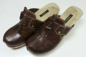 Xhilaration-Women-039-s-Brown-Faux-Leather-Platform-Clogs-Mules-Shoes-Size-7-1-2