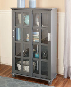 Details about Sliding Glass Door Storage Cabinets Dining Room Kitchen  Office Den 3 Colors